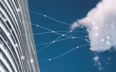 Modern building connected with Cloud by lines and dots, Cloud Technology concept.