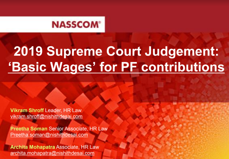 Presentation: Webinar on Recent Supreme Court Ruling on Basic Wages for the Purpose of PF Contributions , March 19th 2019